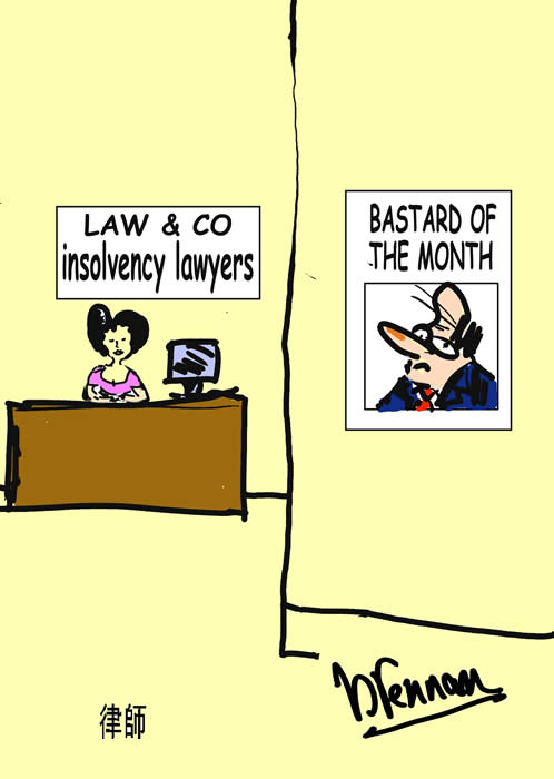 Legal cartoon, insolvency lawyer, Paul Brennan