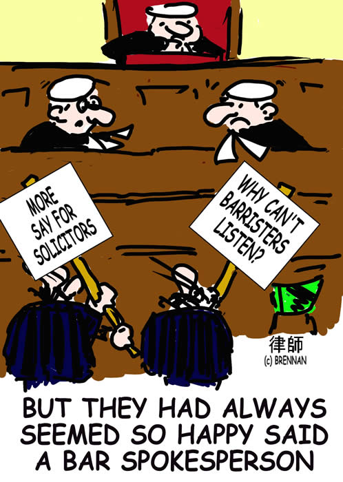 legal cartoon, court, solicitors, barristers, Paul Brennan