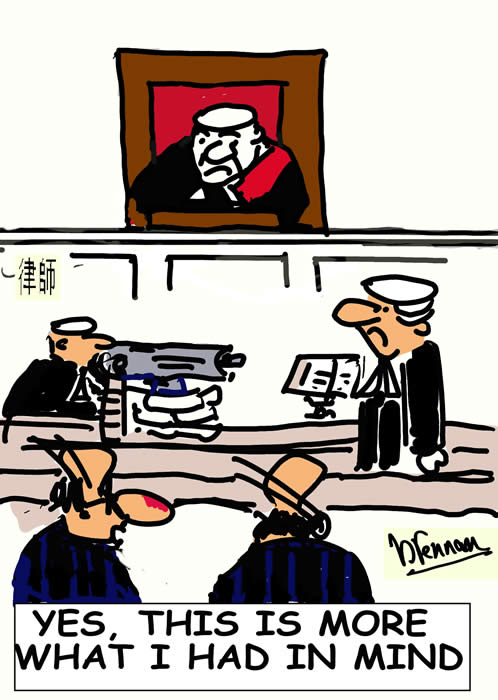 Legal cartoon, court lawyers, courtroom,, barristers, attorneys, Paul Brennan