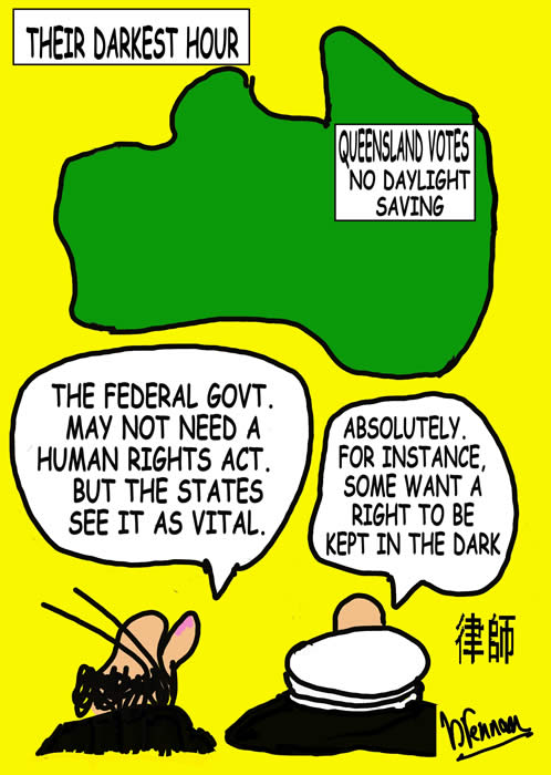 Legal Cartoon, day light saving, Paul Brennan
