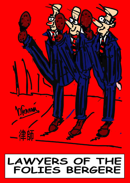 Legal cartoon, lawyers of the folies bergere