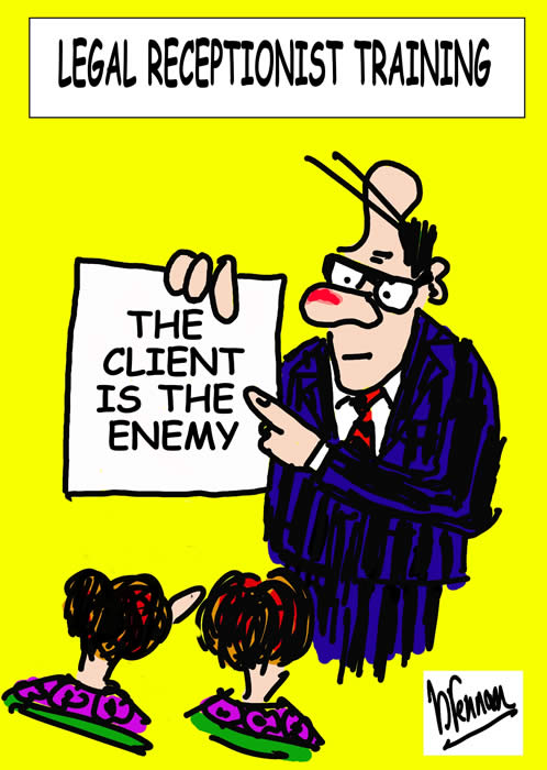Legal cartoon, legal receptionists