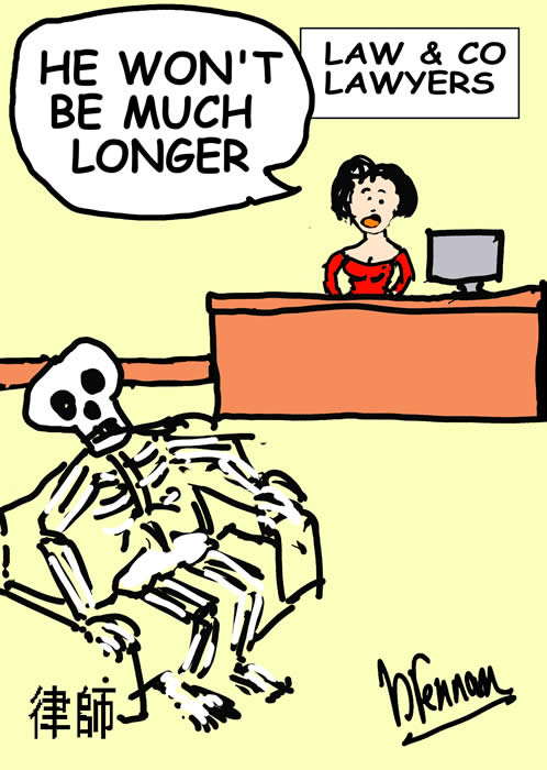 Legal cartoon, skeleton, Paul B rennan