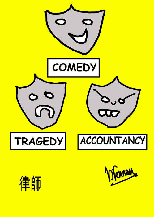 Legal cartoon, masks, accountant, paul brennan