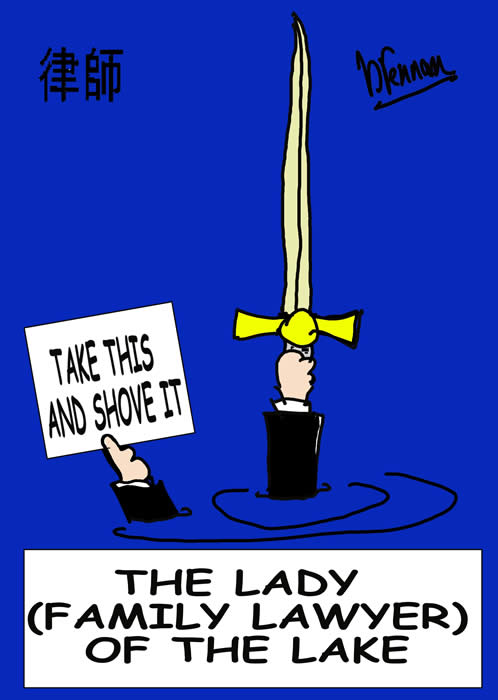 Legal cartoon, lady lawyer of the lake, paul brennan