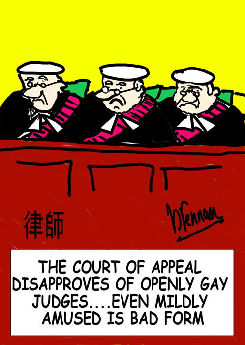 Legal cartoon, judges, gay, Paul Brennan