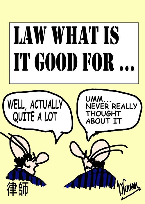 legal cartoon Paul Brennan law what is it good for