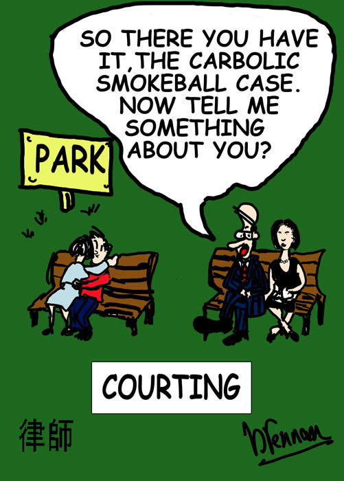 Legal cartoon, lawyers in love, courting, Paul Brennan